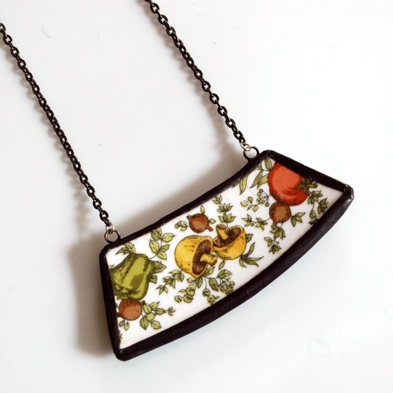 Wide Broken Plate Necklace - Vegetables - Recycled China