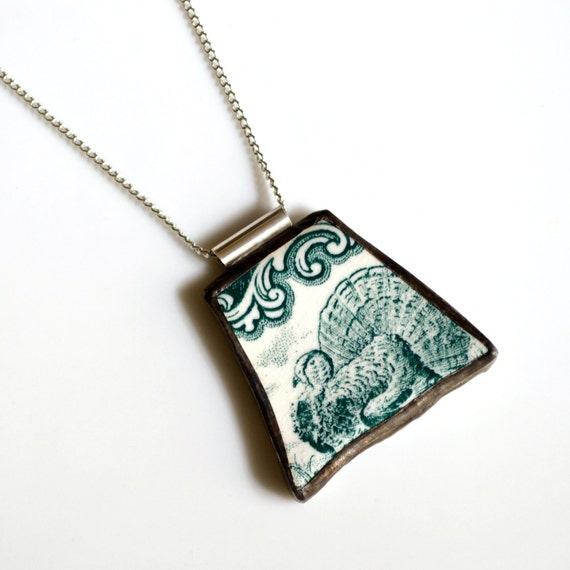 broken plate pendant on chain green vintage by thebrokenplate
