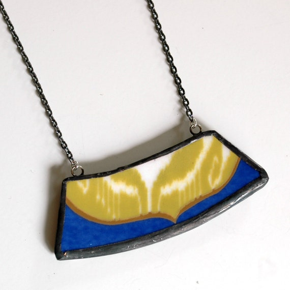 Broken Plate Necklace - Modern Green Blue and Gold Wide - Recycled China
