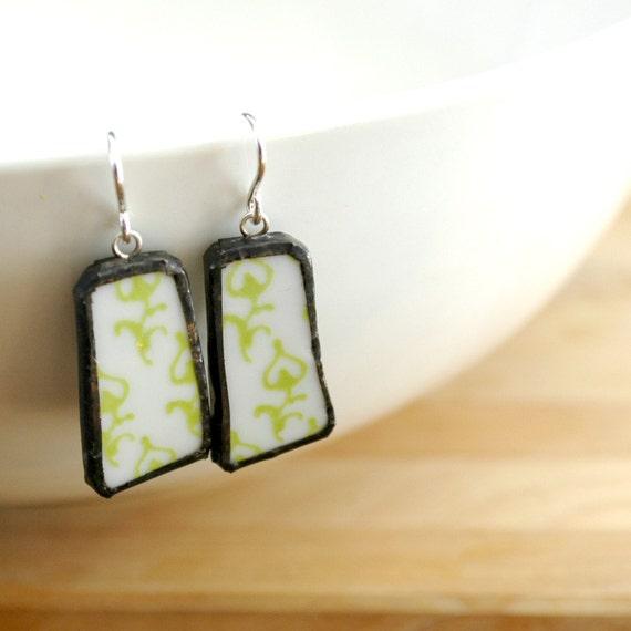 Broken Plate Earrings - Green Pattern Modern - Recycled China