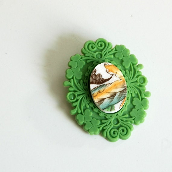 SALE French Brocade Recycled China Brooch - Green and Yellow on Green