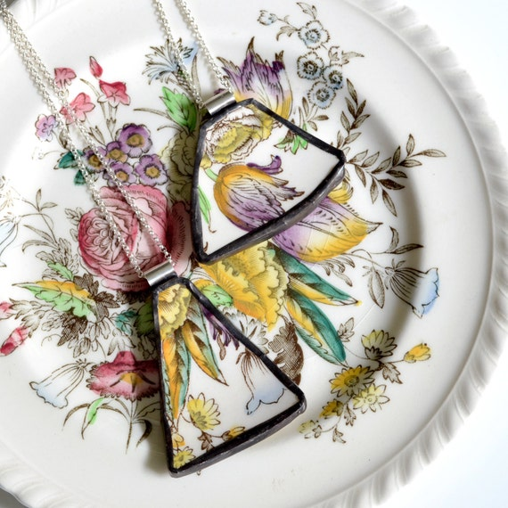 You ComPlate Me Matching Broken Plate Friendship Necklaces - Vintage Garden Bouquet - Recycled China
