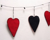 party banner - heart garland - hand stitched - eco felt - red and black - (05)