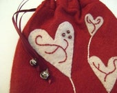 the word is Love - handstitched heart ecospun felt bag - Handmade Certified