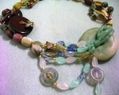 Exotic Bib Necklace, Unique Jewelry, Tribal Necklace, Asymmetrical Statement Jewelry,  Stone Beaded Jewelry, Asymetrical Style