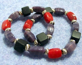 Black, Red and Purple Handmade Beaded Stretch Bracelet, Colorful Glass and Stone Bead Bracelet, Handmade