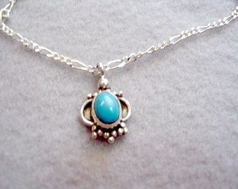 Sterling Silver Chain with Turquoise and Sterling Silver Pendant Necklace, 19 Inch Figaro Chain, Brides Something Blue, Gemstone Necklace