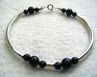 Black Stone Bead and Silver Tubes Bracelet, Modern Minimal Jewelry, Black and Silver Mens or Womens Bangle Style Bracelet