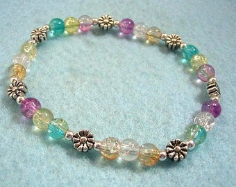 Colorful Crackle Glass Bead Bracelet, Silver Flower Beads, Stretch Bead Bracelet, Feminine Multi Color Pastel Bead Bracelet, Handmade