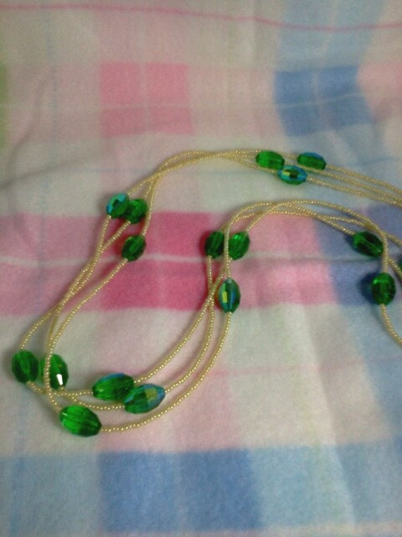 Green Faceted Crystal Necklace, Lemon Yellow Seed Bead Necklace, Handmade Beaded Jewelry, Long Strand Necklace, Large Faceted Crystal Beads