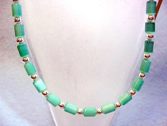 Teal Green Necklace, Green Jewelry, Bead Strand Necklace, Beaded Jewelry, Aqua Green Necklace