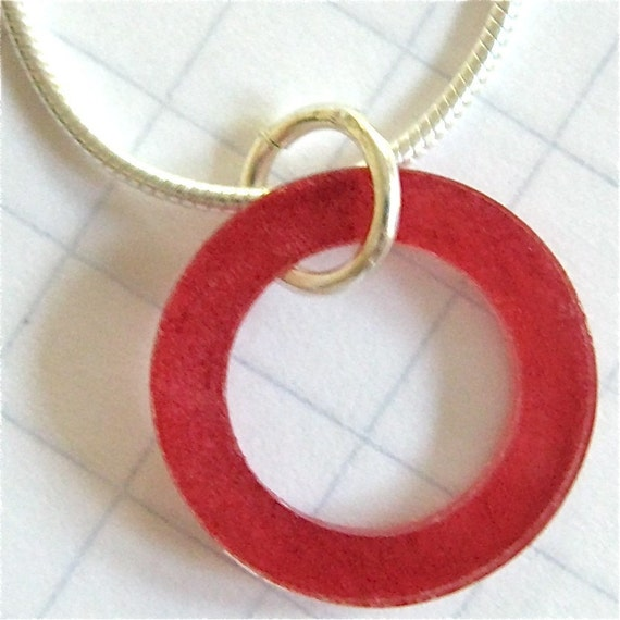 Simple Circle Necklace in Crimson on Sterling Silver Snake Chain