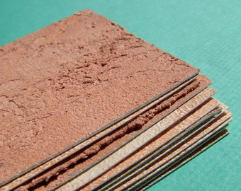 12 handpainted textured terra cotta upcycled ATC card blanks for your small art, ACEOs & whatnot