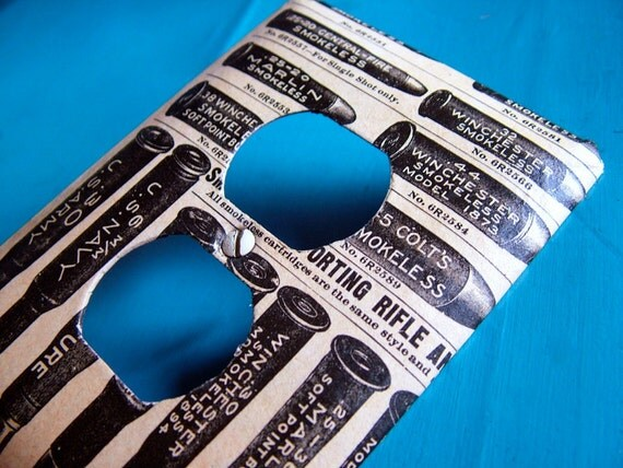 More BANG for your Buck - upcycled outlet cover (with vintage 1969 Sears and Roebuck catalog page)