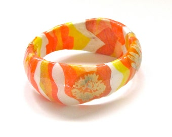 Sunset Colored Bracelet - Tangerine Orange, Yellow, White Wavy Bangle - paper jewelry, flowers, decoupaged floral accessory in candy colors