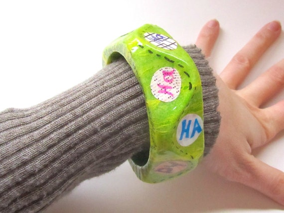 Happy Decoupaged Bracelet, Chunky Neon Green Apple - The Laughing Bangle - Paper Statement Jewelry - silly, Dr. Seuss, geometric shape