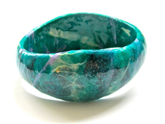 Green Forest Fairy Bracelet - whimsical paper jewelry, decoupaged bangle bracelet