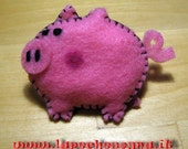 cute felt pink pig pin handmade