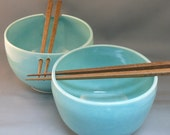 Two Rice Bowls with Chopsticks in Robin's Egg Blue EF