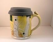 Travel Mug / Ceramic Coffee Mug with Lid / Coffee cup in yellow and dark blue / valentine or birthday gift