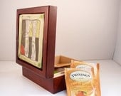 Wood tea box with handmade tile  IN STOCK /  for dad or grad / jewelry organizer also for tea bags, paper clips, candy, business cards