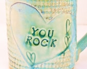 You Rock Coffee Cup in Dragonfly design / Pottery Mug / Dragonfly  teacup 16 ounces / for him for her C7
