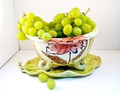 Berry Bowl Colander on Leaf Tray in Poppy Flower Design - for garden produce like grapes and strawberries