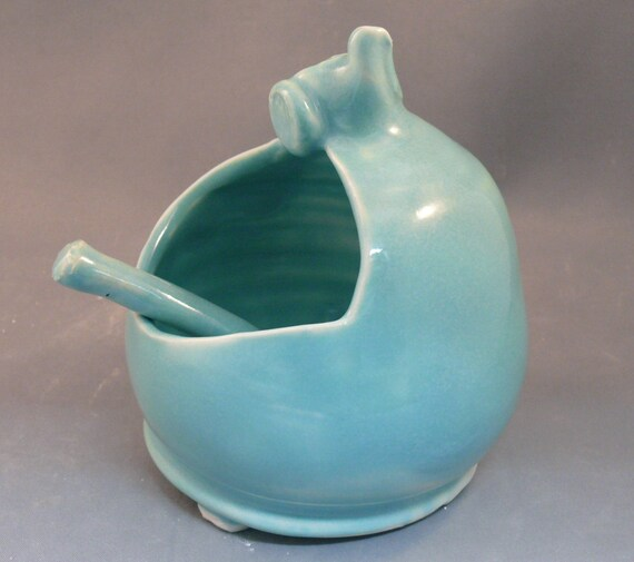 Salt Holder Blue French Salt Pig Ceramic Salt Cellar