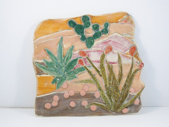 Southwest Cactus Hanging Tile - Great for bedroom, office, bathroom, kitchen home decor - for graduation, new home, birthday