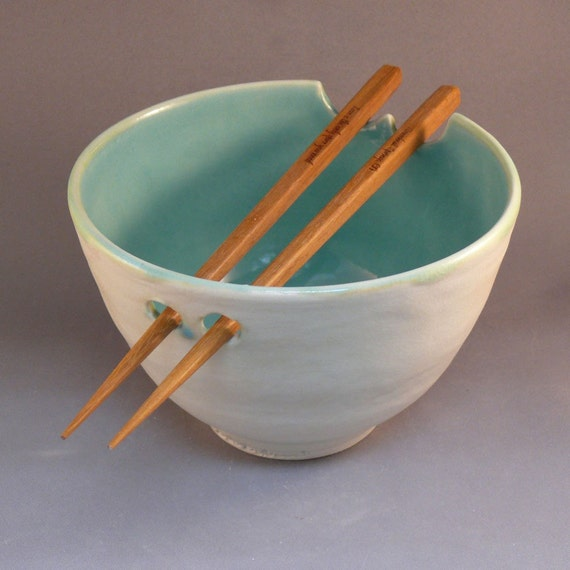 Rice Bowl Noodle Bowl in Vanilla Azure with Chopsticks