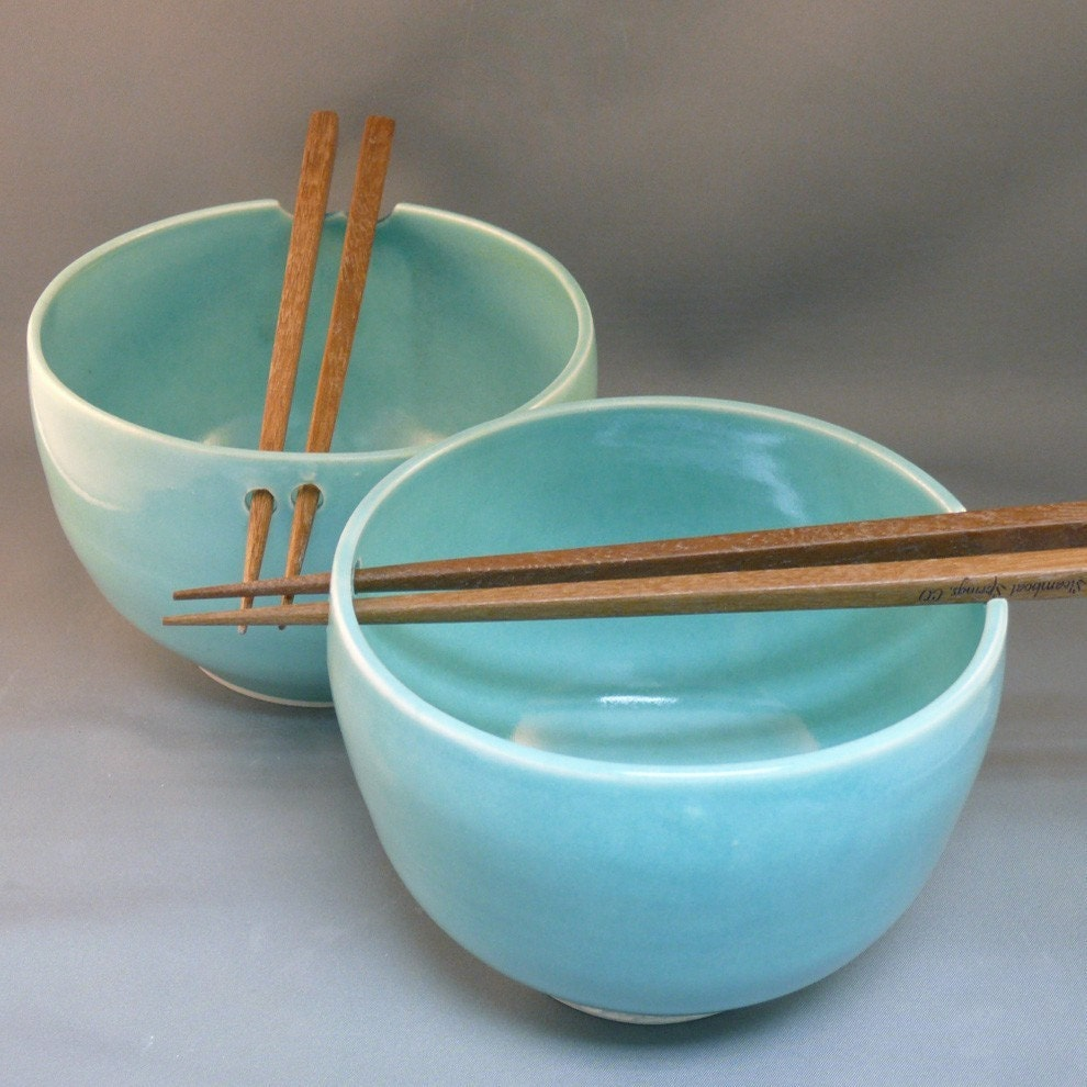 two rice bowls with chopsticks in robin 39 s egg by blueskypotteryco. Black Bedroom Furniture Sets. Home Design Ideas