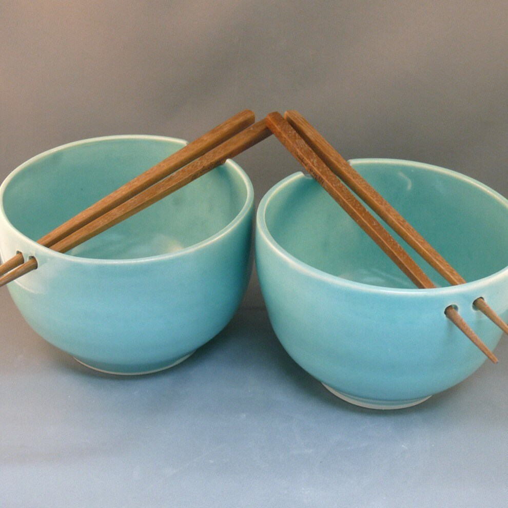 Two Rice Bowls With Chopsticks In Robin S Egg Blue Ef