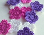 Mini Crochet Flower Appliques, 12 Pink Purple and White Embellishment, Scrapbooking On Etsy