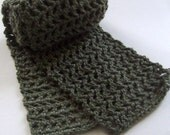 Crochet Scarf Olive Green- Warm Accessories Winter On Etsy