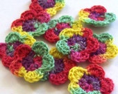 Mini Crochet Flower Appliques, 10 Fiesta Embellishment Embellishment, Scrapbooking On Etsy