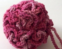 Crochet Bath Puff Cherry Pink On Etsy