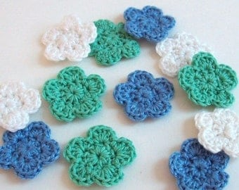 Mini Crochet Flower Appliques, 12 Green Blue and White Embellishment Scrapbooking On Etsy