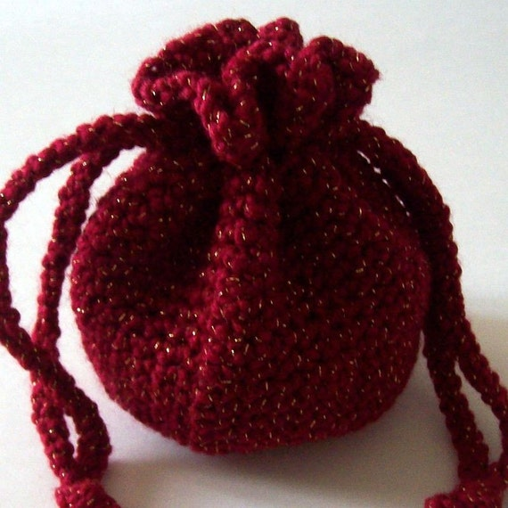 Crochet Drawstring Pouch Pattern : Crochet Drawstring Bag Red and Gold Pouch On Etsy