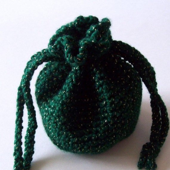 Crochet Drawstring Bag Green with Gold Pouch On Etsy