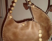 RESERVED for Tatiana SALE Feeling Light SALE - Light Brown Half Moon Purse