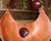 SALE Mandarin Moon - Sea heart and leather purse