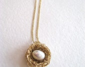 Bird nest necklace, gold fill, 1 pearl egg