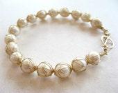 Captured pearl bracelet - 14k gold fill wire crochet