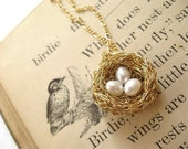 bird's nest necklace...14k goldfill, 3 pearl eggs