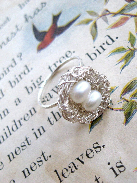 Bird's nest ring, sterling silver with freshwater pearl eggs. Adjustable band, choose 1-5 eggs in the nest.