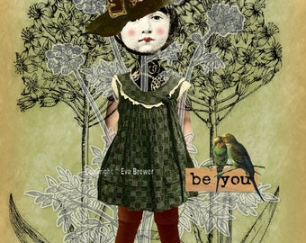 collage print digital altered art inspirational download green birds whimsy floral