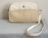SALE Etienne Aigner Ivory Leather-Like and Basketweave Shoulder Bag