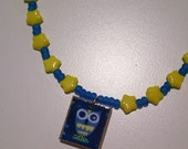 Blue Owl Tile Necklace