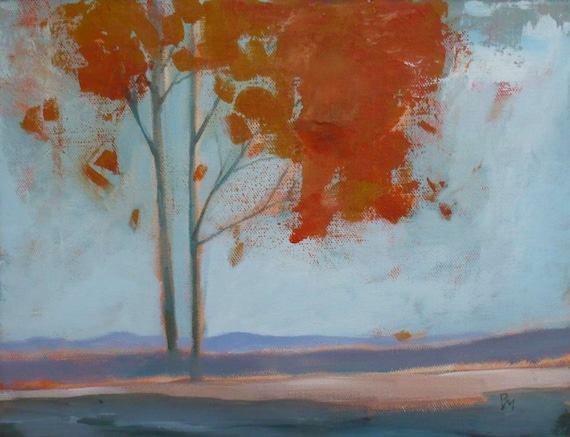 Original painting Fall Trees Orange