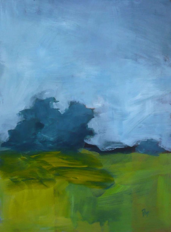 Original Landscape Painting Blue And Green Impressionism